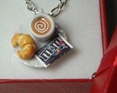 Necklace polymer clay cute sweets kawaii handmade tiny miniature cup coffee cream croissant M&M - collana tazzina cornetto brioche