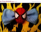Sale 25% Off Spiderman Bow The Amazing Spiderman Hair Bow Blue Gingham ON SALE NOW