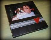 Hanging Magnetic Photo Frame, Photo Block, Photo Holder (4 x 6) - Ribbon with Heart