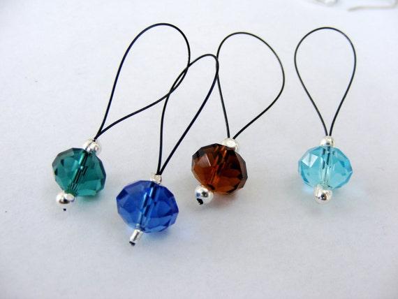 Snag free stitch marker glass beads set of 4