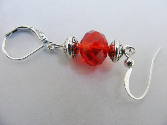 Portuguese knitting pin red glass bead