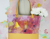 F L O W E R   B U R S T / Pink & Peach large linen and leather tote bag