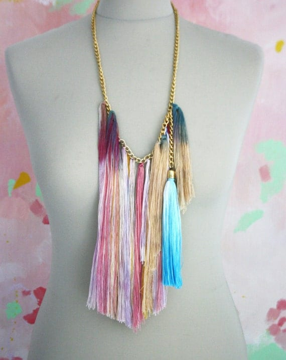 M A R G A R I T A S /MultiColored tribal fringe necklace with blue tassel