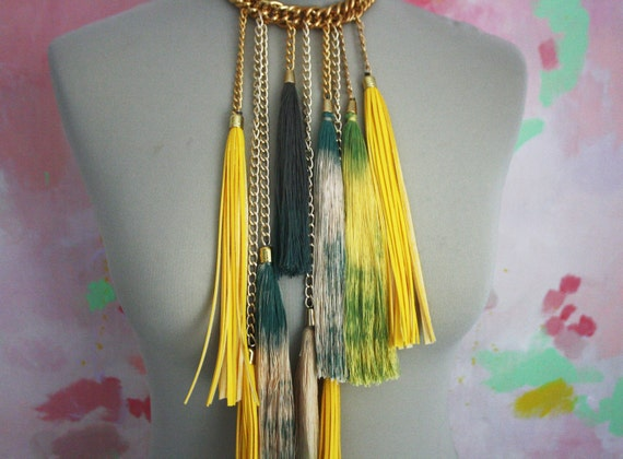 Yellow & Green tribal necklace with tassels