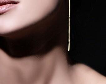 ON SALE, Free shipping, Long gold earrings, statement earrings, extra long earrings, Handcrafted jewelry