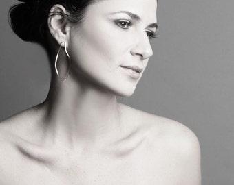 Silver long earrings - Long post earrings - Modern jewelry - Handmade by Gioiellibyliat