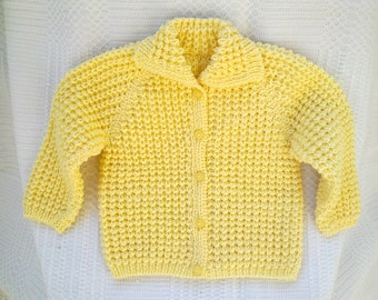 Baby sweater yellow knitted jacket cardigan toddler boy girl 6-12 months