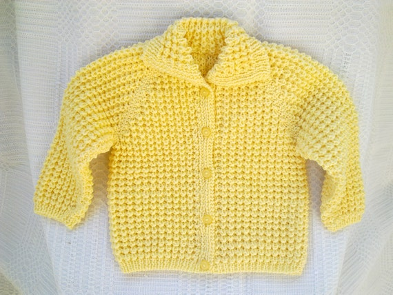 Hand Knitted Baby Sweater Jacket Yellow Toddler Boy By
