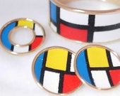 Vintage 1960s Mondrian Bangle Bracelet, Clip On Earrings, Brooch in Red White Blue Yellow Black Painted Leather on Metal Mod Abstract Parure