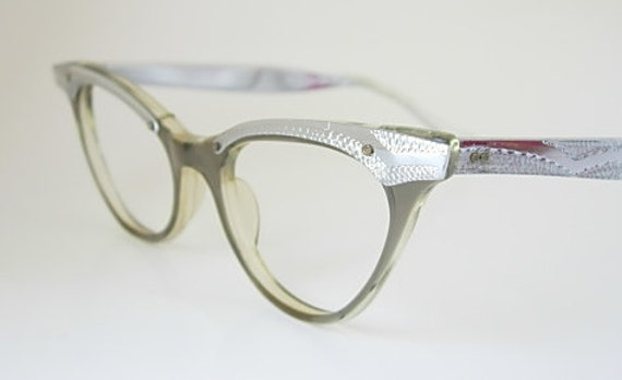 Vintage Zyloware Translucent Olive Green or Gray with Chrome or Aluminum Cat Eyeglass Frames New Old Stock (NOS) Cateye Cat Eye Glass