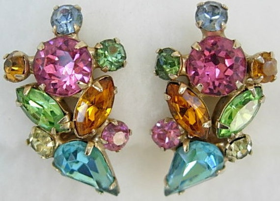 Vintage Multi Color Blue Pink Orange Peridot Rhinestone Prong Set Clip On Climber Earrings Colorful