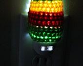 LED Night Light Rasta Green Red Yellow Lighting Housewares Home Decor Crochet Unique Bright