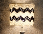 RESERVED White Grey Lampshade Chevron Crochet Zig Zag Modern Unique Lighting Housewares Cute Home Decor Mid Century