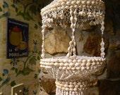 Vintage Retro Hawaiian Cowrie Shell Decorative Hanging Basket