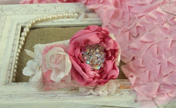 SALE..Shabby Chic Artist Cuff Bracelet with Vintage Jewelry and Millinery Flowers