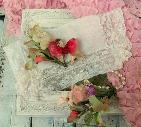 RESERVED FOR GIL-Shabby Chic Vintage Handkerchief and Vintage Millinery Flowers for Old-Fashioned Craft Projects