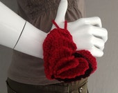 Hand-Crocheted Red Accordion Heart Pouch