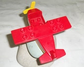 Vintage Rare Lego Aeroplane, Lego Plane Unusual, Vintage Toy, Vintage Lego Plane with Prop, Airplane Toy Red and Yellow