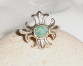 Sterling Silver and Turquoise Stone Ring, Size 6.5  Cross Style Ring, Genuine Silver and Turquoise