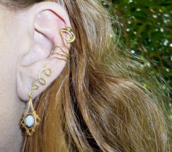 Gold Ear Cuff with Opal Charm, Ear Wrap Handmade Opal Cuff, Vintage Opal Triplet Charm Earring, Full Ear Cuff