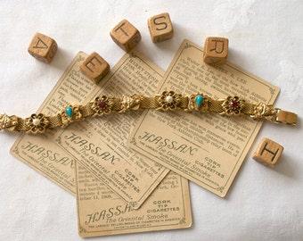 FLORENZA Victorian Revival Slider Bracelet Vintage 1950s SIGNED