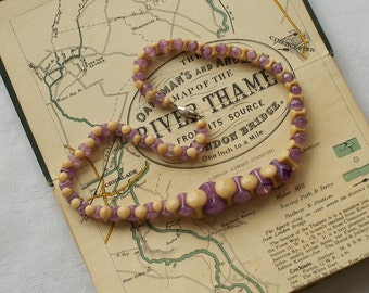 Molded Purple and Ivory Pressed Glass Bead Necklace 1920s Vintage