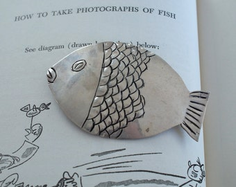 Fish Pin Sterling Silver Engraved Modernist