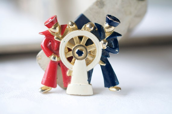Vintage 1960s LISNER Brooch Red White and Blue Sailors at the Helm Pin