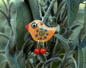 Handpainted enameled orange bird pendant, Orange bird dangle charm pendant, Robin orange necklace
