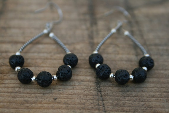 Black lava earrings, drop shape, lava jewelry, surgical wire, hypoallergenic