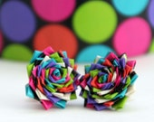 Duct tape flower earrings