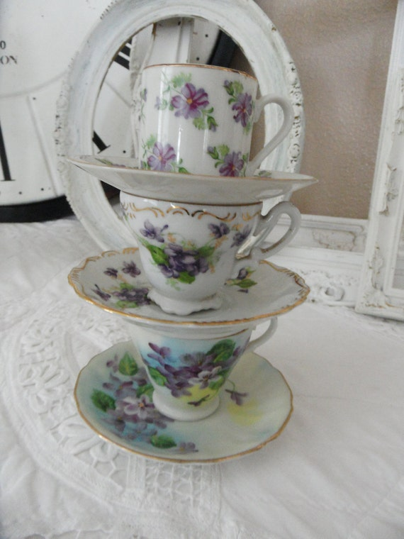 Adorable set of 3 Petite Porcelain Tea Cups and Saucers Purple Flowers Cottage Charm