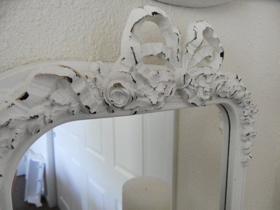 Adorable Vintage Mirror Creamy White Shabby Chic Hand Distressed Loaded with Roses and a Big Ornate Bow