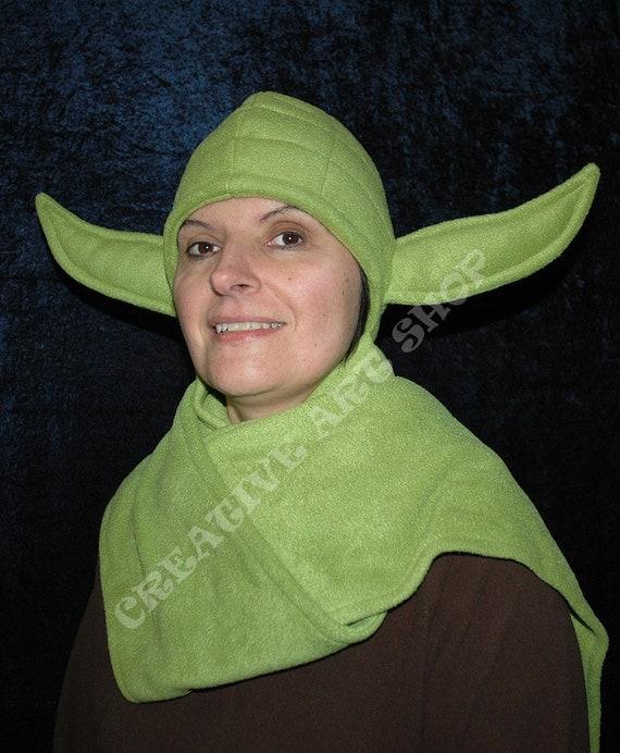 Green Ears Alien Hooded Scarf - Star Wars Yoda inspired fleece hat with scarf