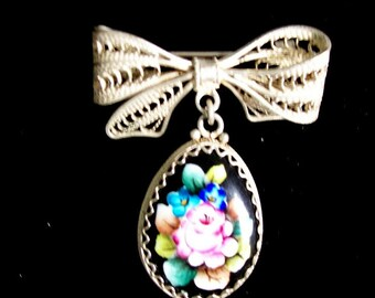 Vintage Brooch Silver Victorian Style Hand Painted Bow
