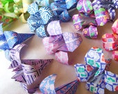 40 Large Origami Irises - paper flowers made to order with chiyogami paper - great for gifts, wedding or party favors, and table decorations