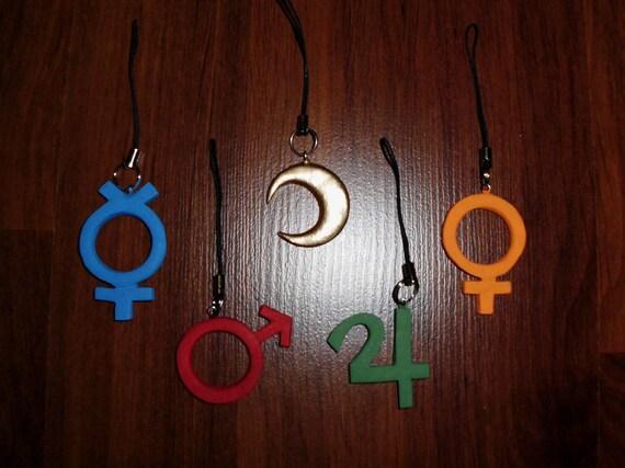 Handmade Sailor Moon-Inspired Inner Senshi Symbol Cellphone Charm - Moon, Mercury, Mars, Jupiter, or Venus