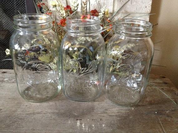 Set of 3 vintage quart mason jars - Golden Harvest, Ball, Mom's Mason