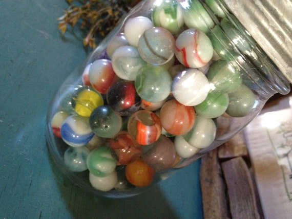 Pint size ball jar with vintage marbles