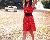 Vintage 1970's IMPRESSIONS Red Polka Dot Tank Dress
