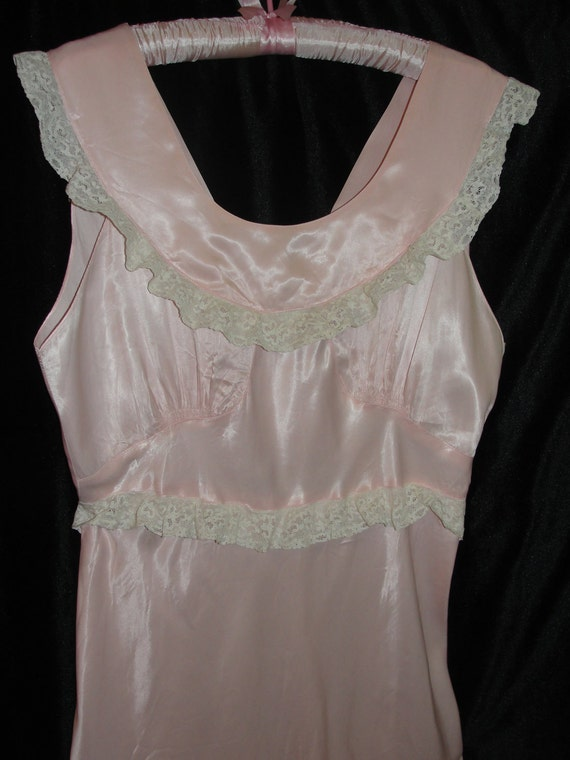 Vintage Nightgown 1940s Shirley Ray Pink Rayon Satin Nightgown with Scoop Neckline and Eggshell Lace