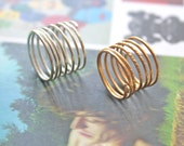 Cosmic Spiral - Sterling Silver and Gold Modern Hammered Rings