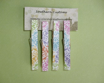 Clothespin Magnets Damask Pattern, Pink, Purple, Green, Blue, Yellow, and Orange, Set of four