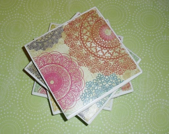 Coasters Doily Pattern, Green, Orange, Pink, Blue, Purple, and Yellow , Felt-Backed, Tile Set of Four