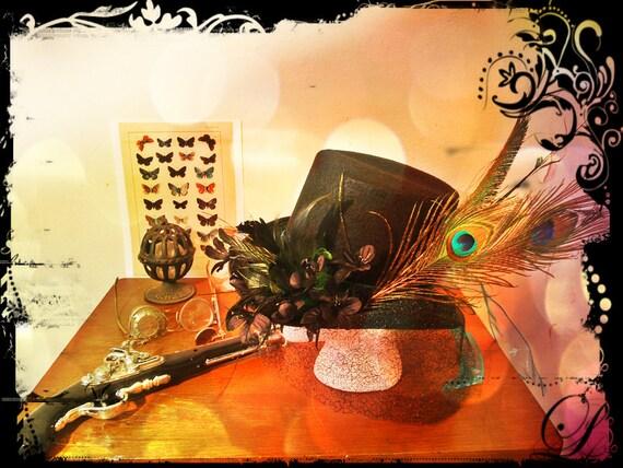 Top Hat Peacock Black Steampunk Victorian