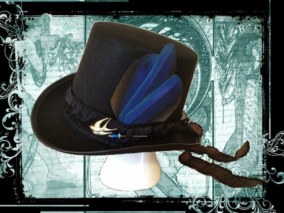 Steampunk Victorian Top Hat-Blue Brass and Gold