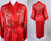 "Vintage 60s CHINESE SILK ROBE Bright Red Hand-Embroidered Flowers ""Plum Blossoms"" Piano Shawl Cover Up Kimono Jacket Asian"