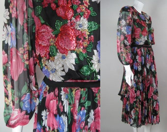 Vintage 1980s DIANE FRES DRESS Hand-Beaded Chiffon with Floral Print Pleated Skirt w Sash