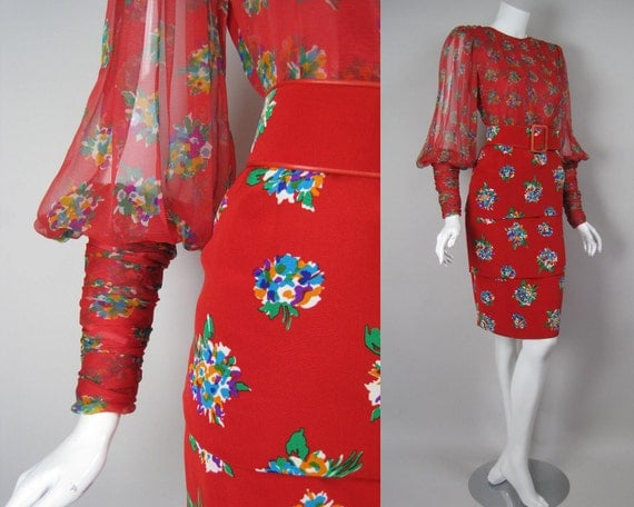 1980s GALANOS Red Silk Cocktail Dress Saks Fifth Avenue Designer Vintage Chiffon Bodice Tiered Skirt Floral Flower Print American Couture