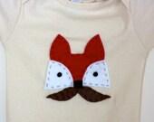 ORGANIC: Fox Onesie - Hand Stitched - Mustache Baby- American Apparel 12-18 months